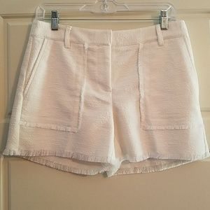 Ann Taylor ivory tweed shorts with fringe trim